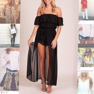 Off the shoulder black Maxi Romper